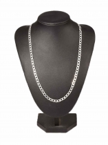 Silver Plated Charm Flat Link Chain Necklace