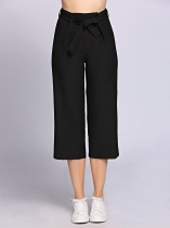 Black Self Tie High Waist Solid Cropped Pants