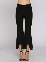 Black Scallop Waist Solid Asymmetric Flared Pants