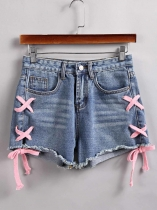 Blue Lace Up Side Frayed Hem Denim Shorts