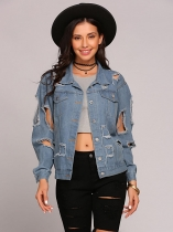 Women Fashion Long Sleeve Ripped Distressed Button Down Denim Jacket
