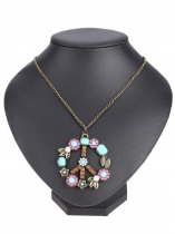Vintage Peace Sign Inserting Colorful Beads Pendant Necklace