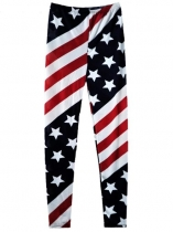 Stars and Striped American Flag Printed Full Length Slim Leggings