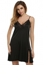 Ekouaer Black Women Satin Lace Trim Slip Sexy Chemise Nightgown Dresses Shapewear & Pajamas
