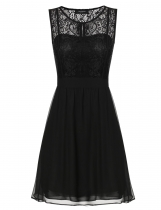 Black Sheer Lace Sleeveless A-line Wedding Bridesmaid Dresses