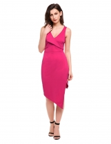 Rojo de la rosa Mujeres Casual sin mangas cuello sólido V Sexy Split Pencil Dress