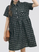 Short Sleeve Plaid Turn Down Collar Shirt Dress with Pockets