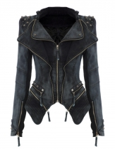 Black Sharp Power Studded Shoulder Notched Lapel Denim Jeans Tuxedo Blazer Coats & Jackets