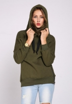 Army green Long-sleeve Hooded Pullover Hoodies