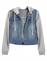 Metal Buttons Distressed Light Wash Denim Jacket
