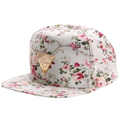 b04b1e4f4f4 Floral Flower Snapback Hip-Hop Flat Peaked Adjustable Baseball Cap