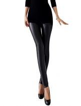 Black Women Slim Artificial Leather Skinny Pencil Leggings