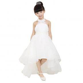 Halter Mesh High Waist Asymmetrical Hem Ball Gown Tutu Girls Dress 67aba9a602bb