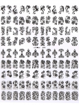 Black Flower Tips Stamping DIY Decoration Manicure Nail Art Stickers