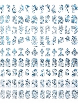 Navy blue Flower Nail Decal Art Stickers Tips Estampage DIY Décoration Manucure