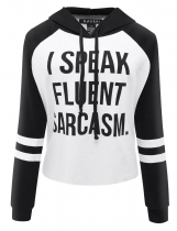 Black Casual Long Sleeve Hooded Letter Print Short Hoodies