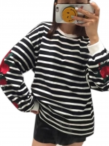 Black Mulheres O Neck Roses Bordados Lantern Sleeve Loose Striped Hoodie Blusa Sweatshirt