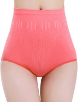 Watermelon red Seamless High Waist Body Shaper Tummy Control Panties Abdomen Underwears