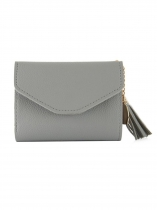 Synthetic Leather Fashion Clutch Card Wallet With Tassel