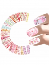 24 Sheet Floral Print Nail Art Sticker Set