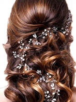 Faux Pearl Rhinestones Hair Vine Headband Wedding Headpiece