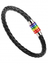 Leather Weave Plaited Jewelry Magnet Rainbow Bracelet