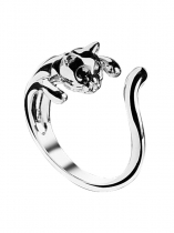 Girls Lovely Gift Silver Cute Cat Openings Ring With Black Rhinestone Eyes