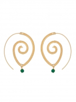 New Vintage Women Lady Circles Round Spiral Brass Tribal Hoop Boucles d'oreilles Bijoux