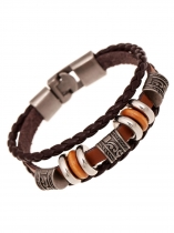 Men Vintage Style Alliage en cuir synthétique Wrap Braided Bracelet