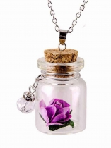 Glass Bottles Shape Charm Chain Pendant Necklace