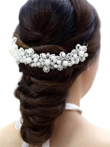 Faux Pearl Rhinestones Hair Band Headband