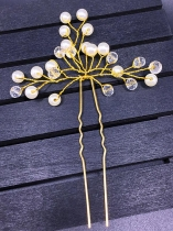 Golden Yellow Women Pearl Flower Hair Clip Hairpin Wedding Bride Accessories