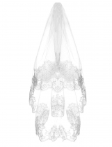 1.5M Bridal Cathedral Wedding White Veil lace edge vintage mantilla lace veils