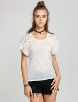 Lace Hollow Out Split Joint Short Sleeve Loose T-Shirt