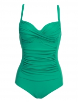 Green Solid Spaghetti Strap Ruched One Piece Swimsuits