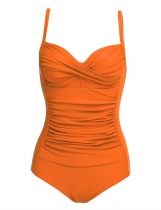 Orange Solid Spaghetti Strap Ruched One Piece Swimsuits