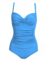 Skyblue Solid Spaghetti Strap Ruched One Piece Swimsuits
