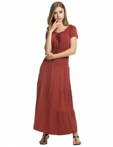 Brown Stylish Tunic Ruffles Elastic Solid Maxi Dress