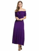 Purple Stylish Tunic Ruffles Elastic Solid Maxi Dress