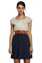Zeagoo Blue New Stylish Women Sleeveless Round Neck High Waist Dots with Belt Casual Dresses