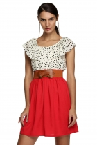 Zeagoo Red New Stylish Women Sleeveless Round Neck High Waist Dots with Belt Casual Dresses