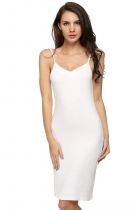 Avidlove White Ladies Women Sexy Strap Slip Sleeveless Neck Casual Solid Bottoming Straight Going Out Dresses