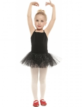 Arshiner Black Girls Spaghetti Strap Mesh Patchwork Bling Sequins Dance Tutu Robe