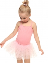 Arshiner Pink Girls Spaghetti Strap Mesh Patchwork Bling Sequins Dance Tutu Dress