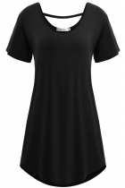 Black Solid Short Sleeve Loose-fit Long Soft Tunics