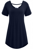 Navy blue Solid Short Sleeve Loose-fit Long Soft Tunics