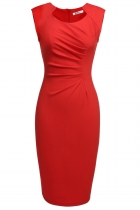 Red Cap Sleeve Elegant Pleated Solid Work Dress