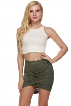 Army green Solid Elastic Waist Slim Fit Stretch Mini Pencil Skirt