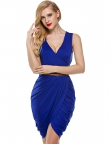 Blue Sleeveless Deep V Neck Wrap Slim Belted Going Out Dress