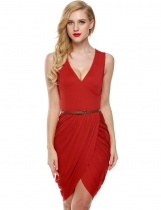 Meaneor Red Frauen Sleeveless Deep V Neck Wrap Slim Gürtel Kleid